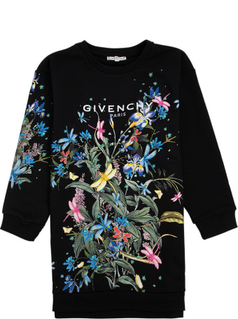Givenchy Black Jersey Dress With Floral Logo Print