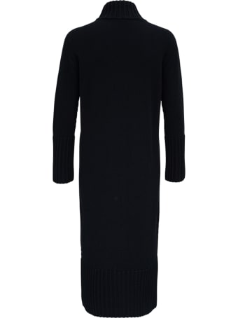 Antonelli Penguin Long Black Wool And Silk Dress