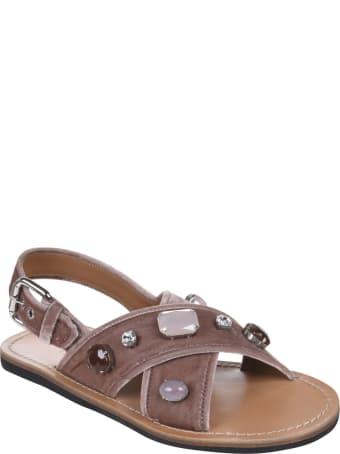 Car Shoe Crystal Embellished Slingback Flat Sandals