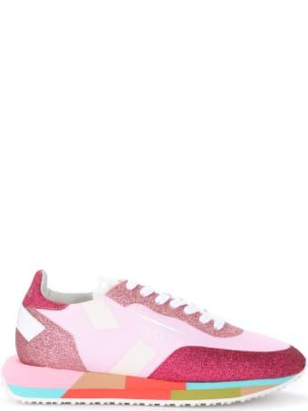 GHOUD Starlight Mesh And Pink And Fuchsia Glitter Sneaker