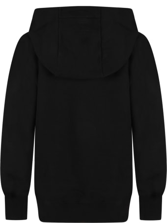 Les Hommes Black Sweatshirt For Boy With White Logo