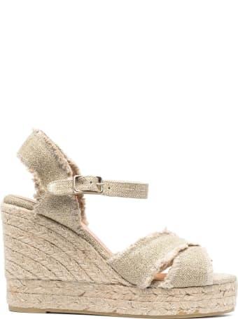 Castañer Beige Canvas Wedge Sandals