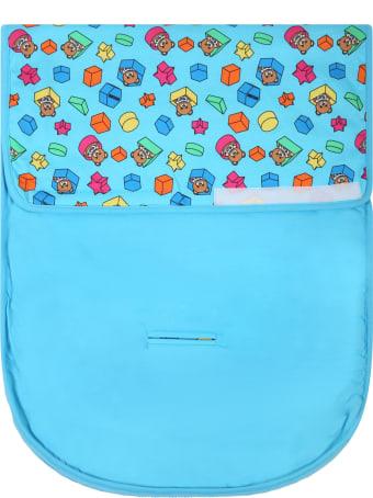 Moschino Light Blue Sleeping Bag For Babyboy With Teddy Bear