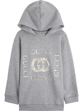 Gucci Cotton Hoodie With Floral Logo Print