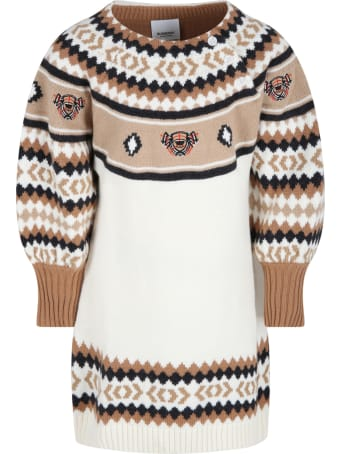 Burberry Multicolor Dress For Girl With Thomas Bears