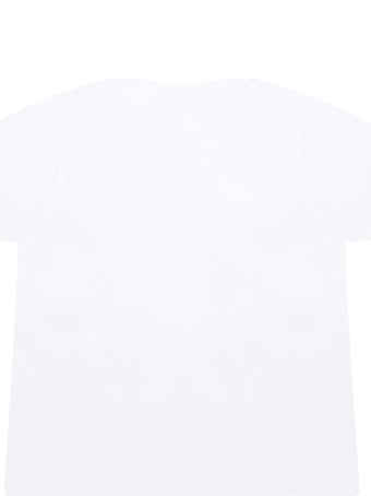 Moncler White T-shirt For Babygirl With Logo