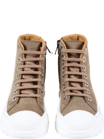 Gallucci Green Sneakers For Kids With White Sole