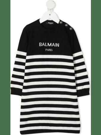 Balmain Black And White Striped Newborn Dress With Logo