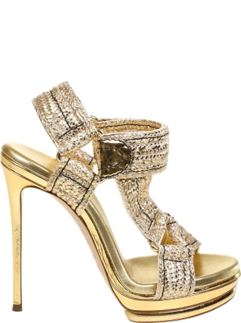 Casadei Sandal In Fabric And Laminated Leather Color Gold