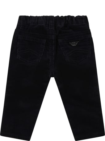 Armani Collezioni Blue Trousers For Baby Boy With Patch Logo