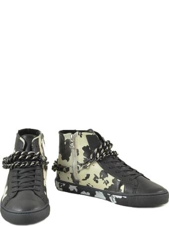 Patrizia Pepe Black Leather Mid-top Sneakers W/chain