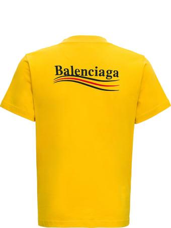 Balenciaga Organic Cotton Slim-fit Yellow T-shirt With Logo