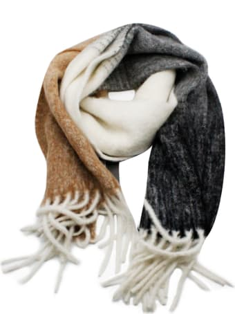 Lorena Antoniazzi Large And Wide Scarf In Alpaca With 3-colored Fringes Measures 180 X 45