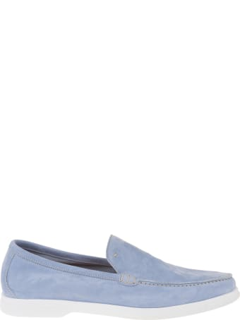 Andrea Ventura Man Light Blue Suede Loafer With White Latex Sole