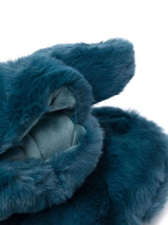 Apparis Blue Coco Gloves In Ecological Fur