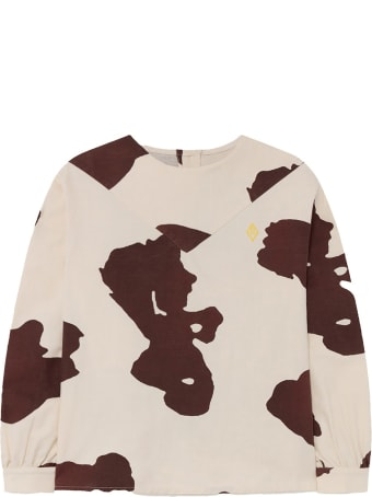 The Animals Observatory Ivory Shirt For Girl With Yellow Logo