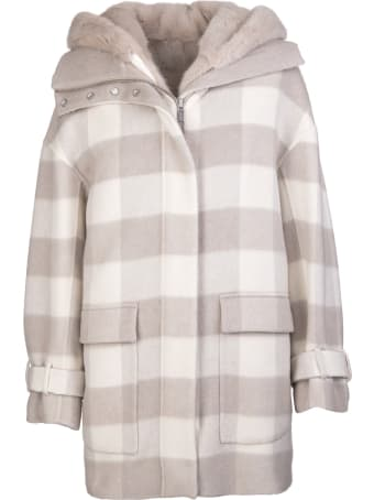 Kiton Woman Beige And White Overcoat With Check Pattern