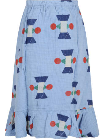 Bobo Choses Light-blue Skirt For Girl With Geometric Deisigns