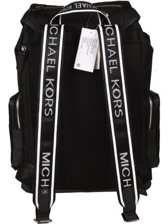 Michael Kors Logo Stripe Buckled Backpack