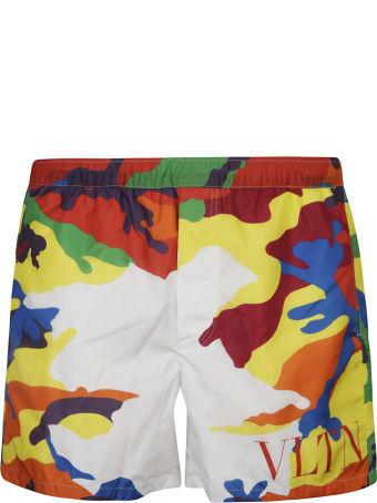 Valentino Vltn Logo Camouflage Shorts