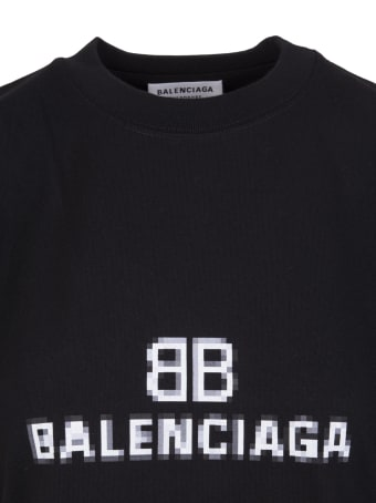 Balenciaga Woman Black Medium Fit Bb Pixel T-shirt