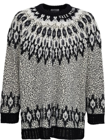 Valentino Crew Neck Wool Sweater  With Animal Print And Embroidery