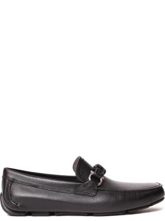 Salvatore Ferragamo Black Leather Driver Gancini Loafers
