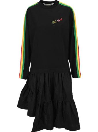 Palm Angels Black Asymmetric Long-sleeve Dress