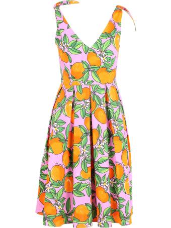 Alessandro Enriquez 'orange Print' Cotton Dress