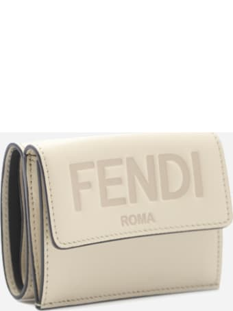 Fendi Tri-fold Leather Wallet With Logo Lettering