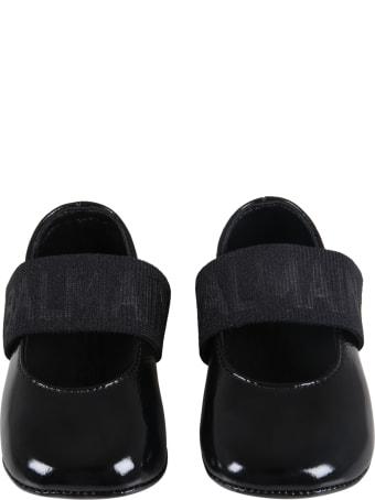 Balmain Black Ballet Flats For Baby Girl With Logo