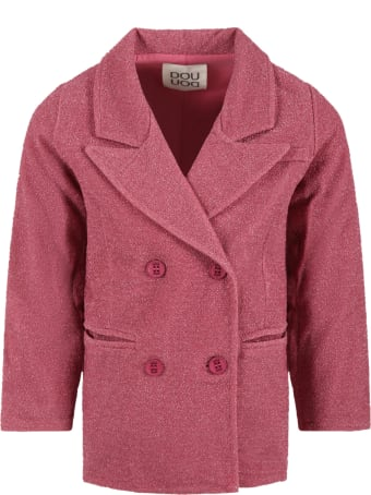 Douuod Fuchsia Jacket For Girl With Lurex Details