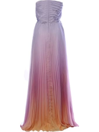 Marchesa Bow Tie Detail Pleated Long Dress