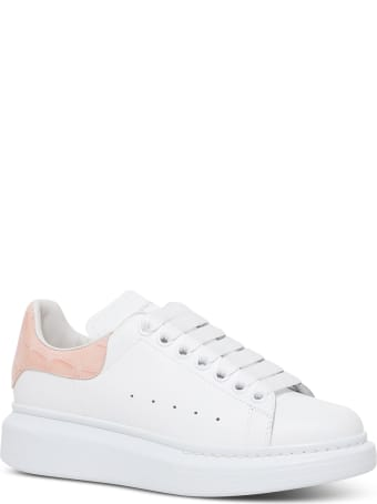 Alexander McQueen Oversize White Leather Sneakers With Crocodile Printed Heel Tab