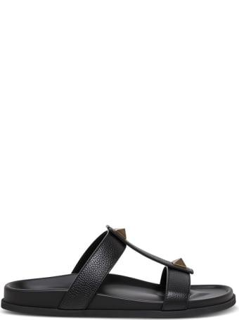 Valentino Garavani Roman Stud Slide Sandals In Black Leather
