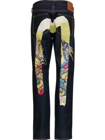 Evisu Blue Denim Jeans With Multicolor Back Print