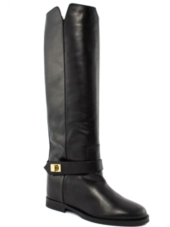 Via Roma 15 High Boot In Black Leather