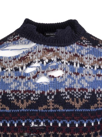 Balenciaga Unisex Blue Destroyed Round-neck Sweater
