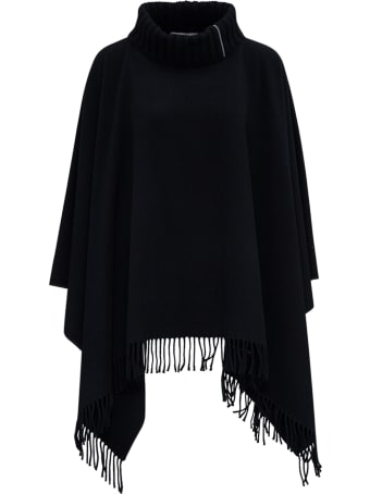 Fabiana Filippi High Neck Wool Blend Black Cape  With Fringes