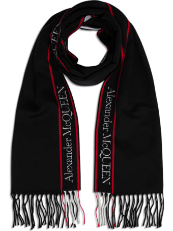 Alexander McQueen Wool And Cashmere Scarf With Logo