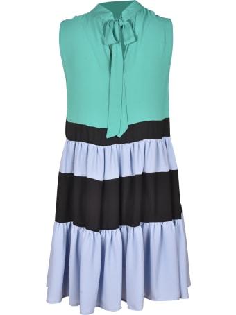 Jucca Tie-neck Sleeveless Stripe Detail Dress