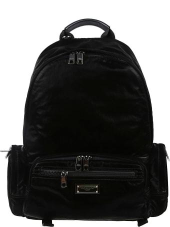 Dolce & Gabbana Logo Plaque Padded Backpack