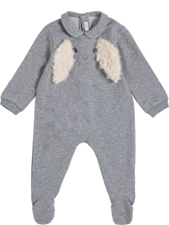 Il Gufo Gray Cotton Romper With Ears Detail