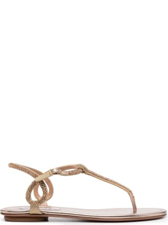 Aquazzura Flat Sandals With Beads Detail