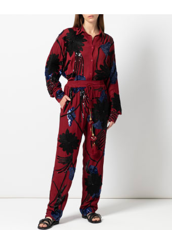 Christian Pellizzari Dark Red Embroidery Viscose Jogging Pant