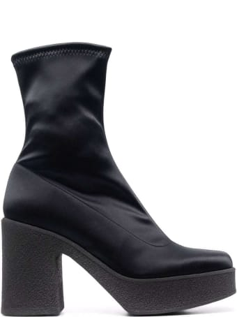 Pollini Rubber Chunky Sole Boot In Stretch Satin