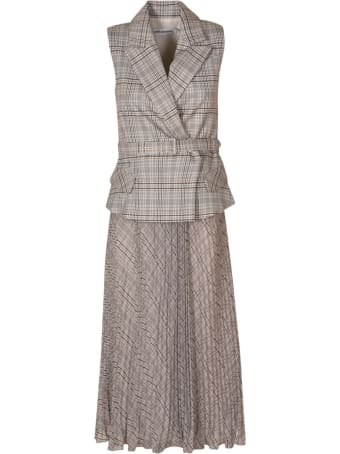 self-portrait Tailored Check And Chiffon Midi Dress