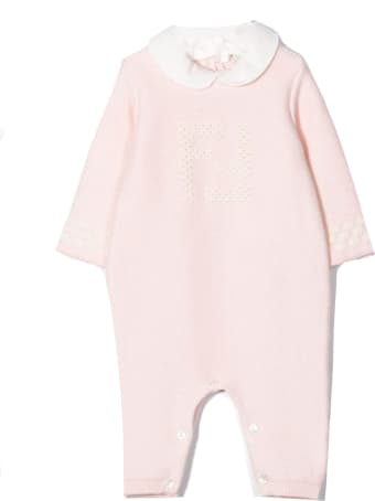 Fendi Rose Pink And White Romper And Hat
