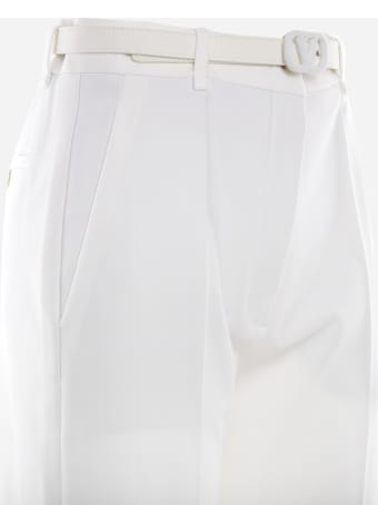 Valentino Wool Blend Trousers With V-logo Belt