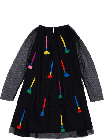 Stella McCartney Kids Black Tulle Dress With Embroidered Panels Detail